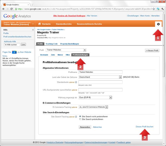 google analytics konto profil l schen magento training und beratung. Black Bedroom Furniture Sets. Home Design Ideas